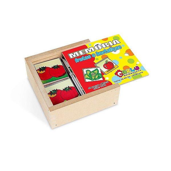 Memoria frutas e hortalicas em MDF com 40 pecas - Cx. madeira.