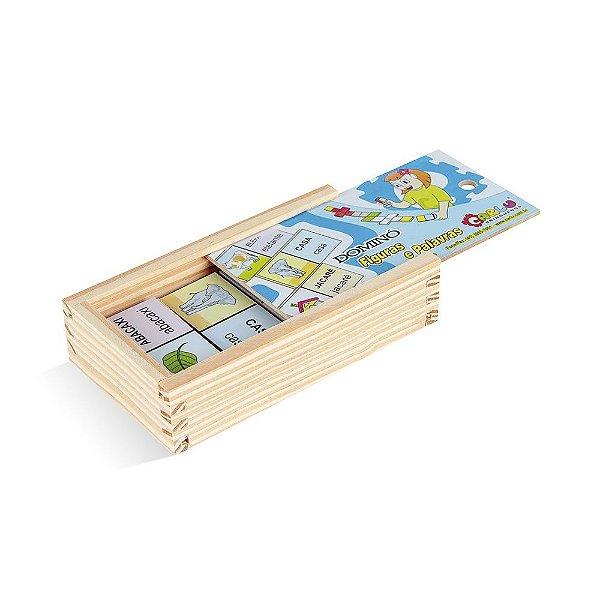 Domino figuras e palavras em MDF com 28 pecas - Cx. madeira.