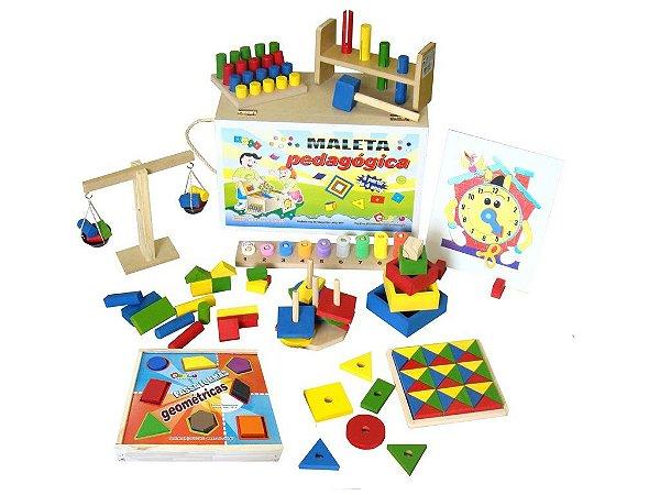 Maleta pedagogica  conjunto educativo com 10 jogos - Maleta MDF