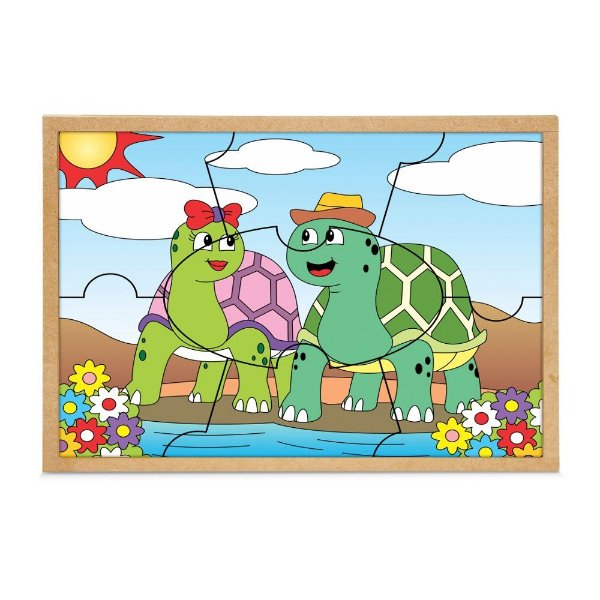 Quebra Cabeça casal tartarugas - Base MDF com 7 pecas - PVC enc.