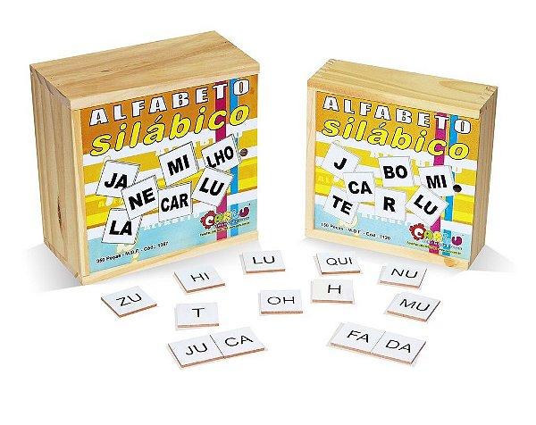 Alfabeto silabico 350 pc em MDF - Cx. madeira.