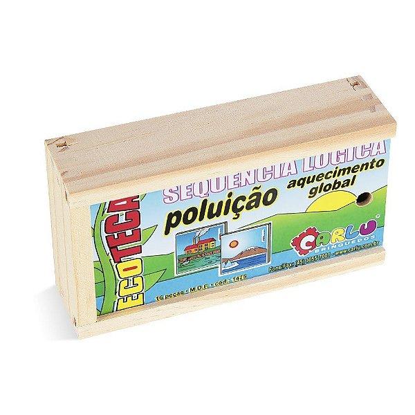 Sequençia lógica  poluicao / aq. global em MDF com 16 pecas - Cx. madeira.