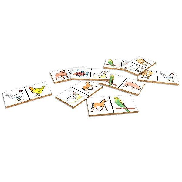 Domino animais domesticos em MDF com 28 pecas - Cx. madeira.
