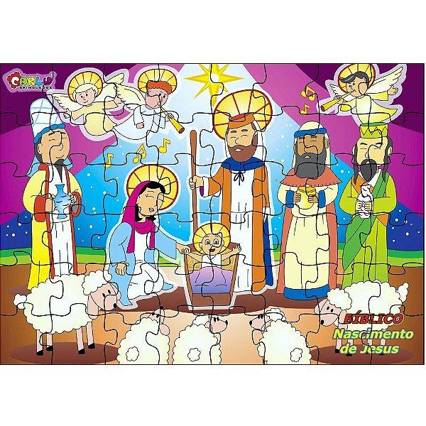 Quebra Cabeça biblico - Nascimento de Jesus em MDF  48 pecas - Cx. Papel