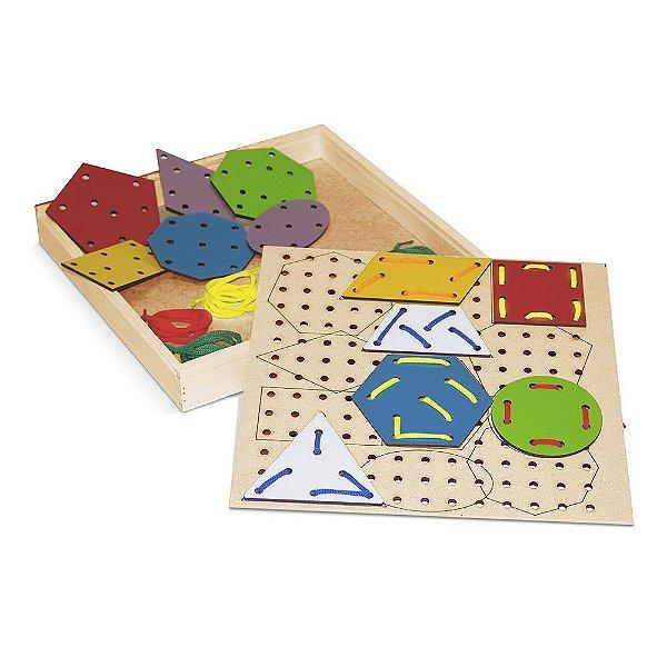 Alinhavos formas geometricas em MDF com 12 pecas - Cx. madeira.