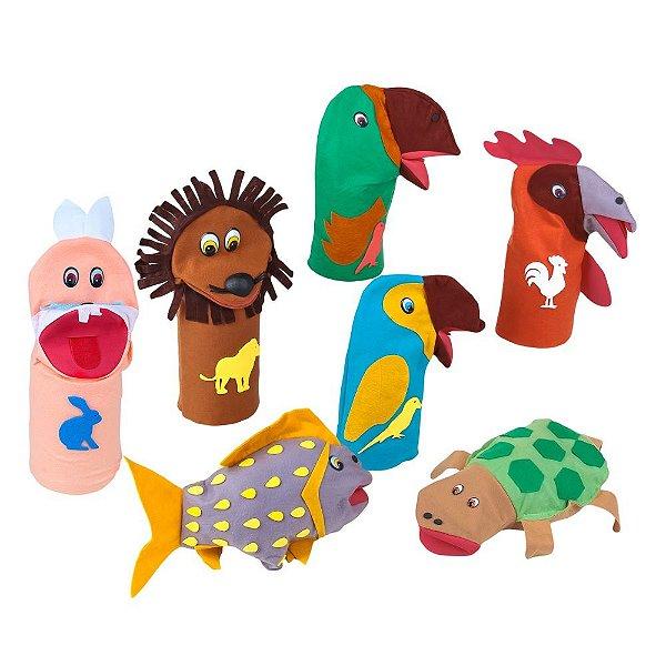 Fantoches animais sortidos - Feltro - 7 pers. - Emb. plast.