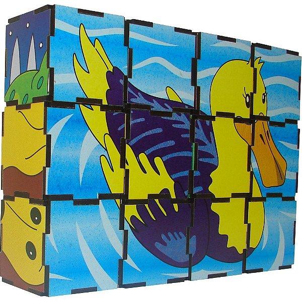 Quebra Cabeça Cubos - Animais Vertebrados -MDF -12 pc- Emb. c/ ziper