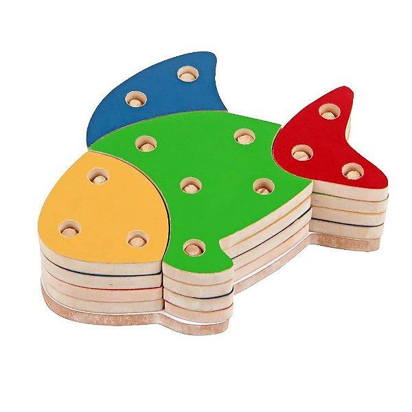 Troque e encaixe as cores - peixe em MDF com 16 pecas - PVC enc.