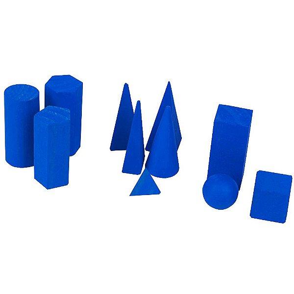 Solidos geometricos - Mad. - 11 pc - Cx. madeira.