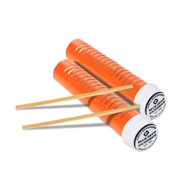 Musicalização - Reco-reco cilíndrico - 1 par-PVC-Emb. plást.