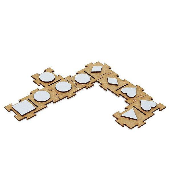 Domino percepcao tatil - Relevo em MDF com 28 pecas - Cx. madeira.