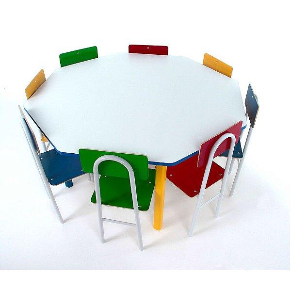 Mesa oitavada com 8 cadeiras - CADEIRAS DE FERRO-Cx. papelão