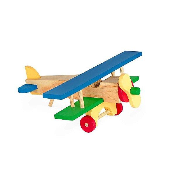 Aviao de madeira - 17 pecas