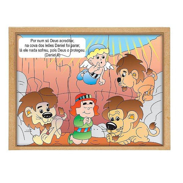 Quebra Cabeça biblico - Daniel cova leoes - Base MDF 6 pc PVC enc.