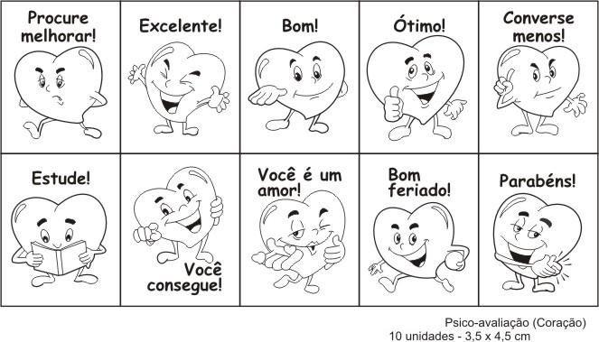 Carimbo psico avaliacao coracao - Mad. com 10 pecas - Cx. papel