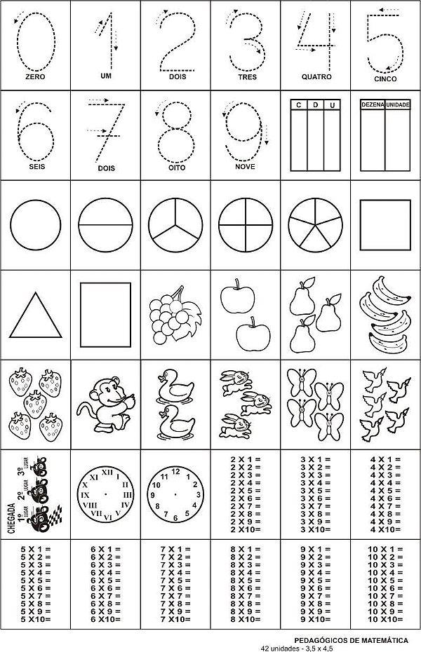 Carimbo pedagogicos de matematica - 42 pç - Cx. papel