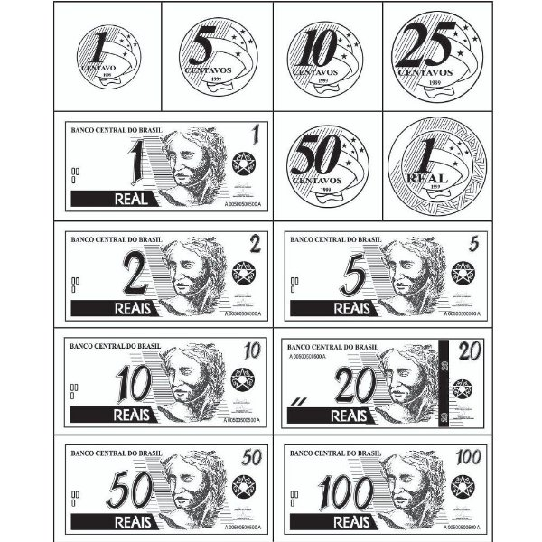 Carimbo cedulas e moedas do real - Mad. - 13 pc -Cx. papel