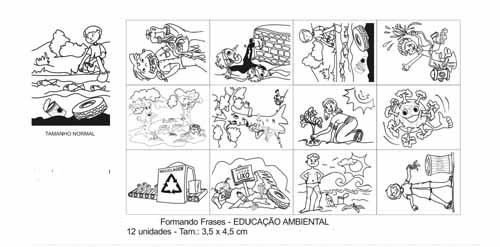 Carimbo formando frases educacao ambiental - 12pç-Cx.papel
