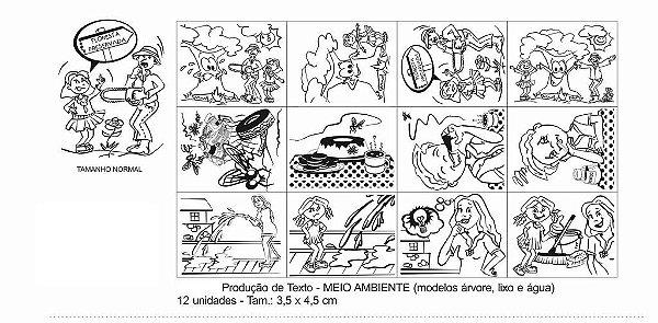 Carimbo producao de texto meio ambiente - 12 pç-Cx. papel