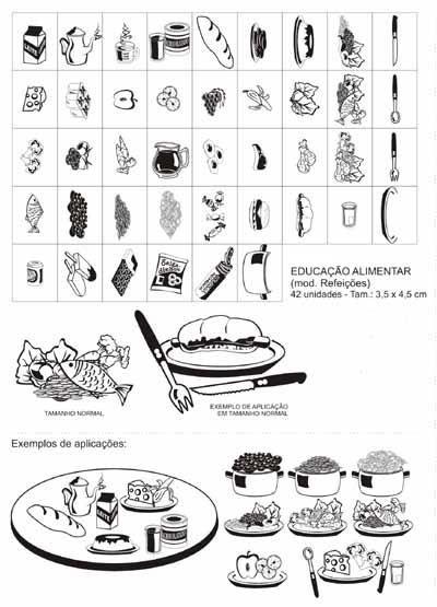 Carimbo edu alimentar (mod. refeicoes interativo) com 42 pecas