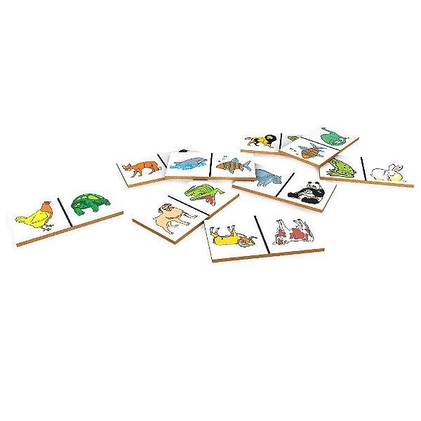 Domino animais em MDF com 28 pecas - Cx. papel