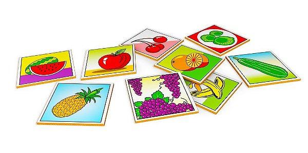 Memoria frutas e hortalicas em MDF com 40 pecas - Cx. Papel