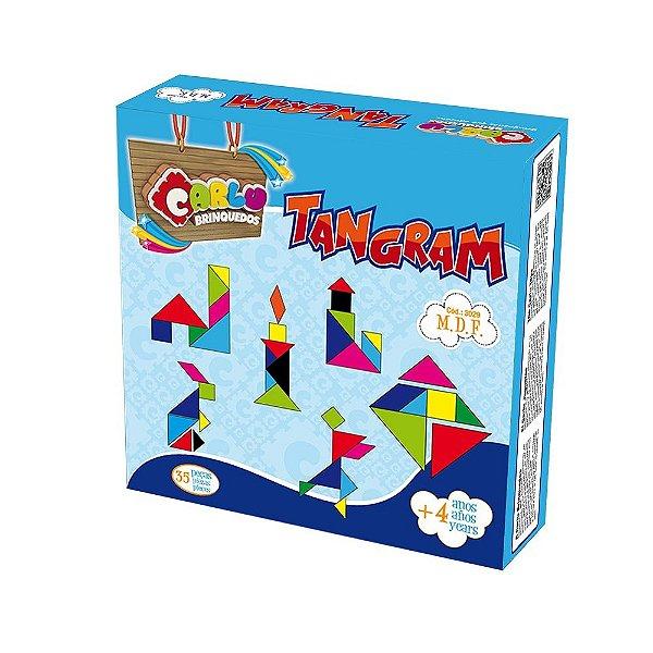 Tangram em MDF 35 peças Cx de papel