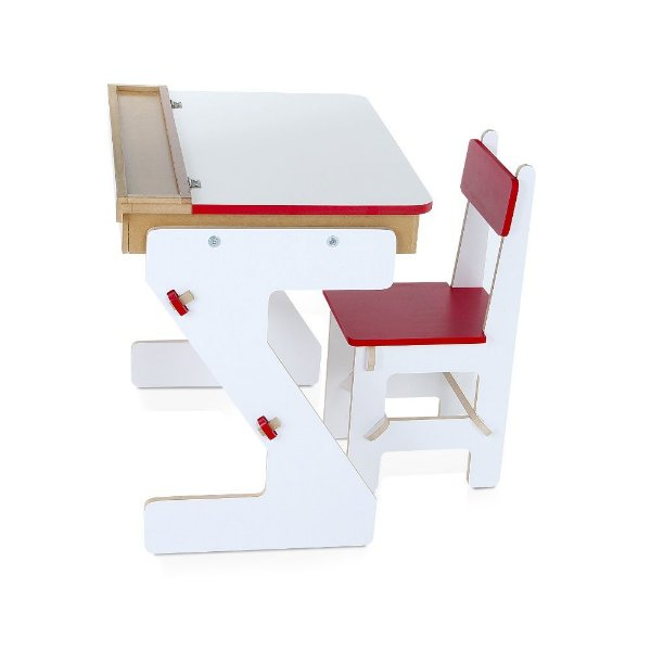 Mesa versatil Vermelha em MDF com 4 pecas - Cx. Papelao