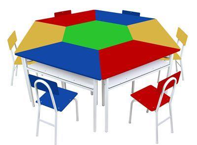 Mesas angulares com 1 cadeira de FERRO - Azul - Cx papelão