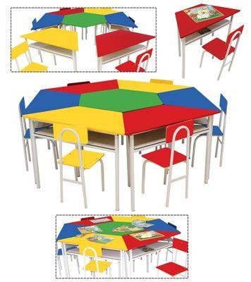 Mesas angulares com 1 cadeira de FERRO - Vermelha - Cx papelão