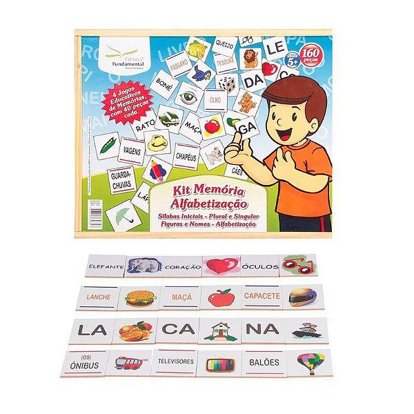 Kit Memoria Alfabetizaçao 04 jogos mdf – Estojo em madeira