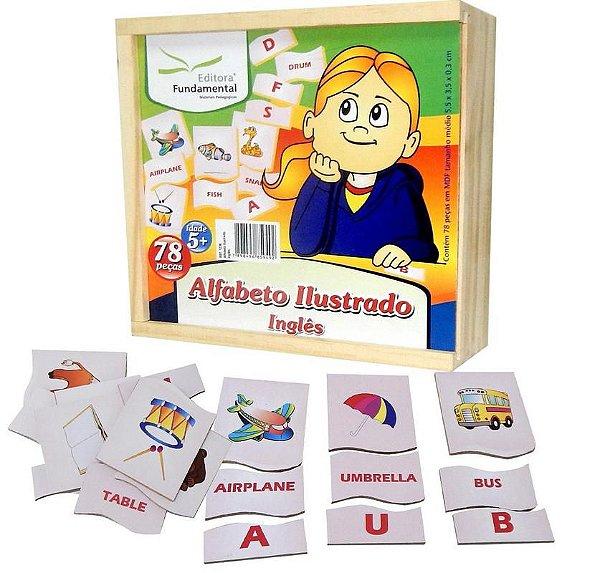 Alfabeto Ilustrado Ingles Com 78 Peças