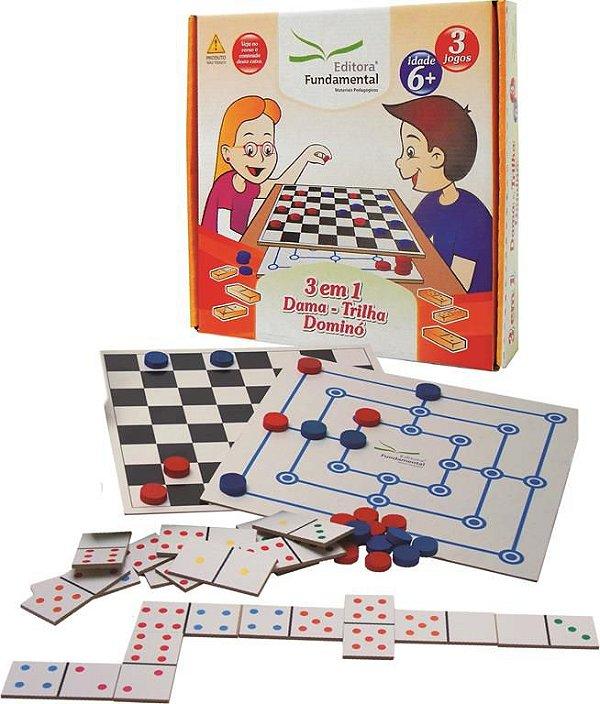 3 em 1 - Dama,Trilha e Domino - Caixa Cartonada