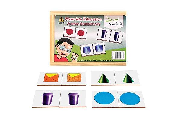 Memoria Educativa  Formas Geometricas  Jogo Com 40 Peças Mdf