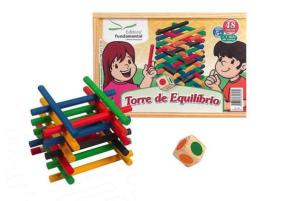 Torre de Equilibrio 48 peças + 1 Dado de Cores
