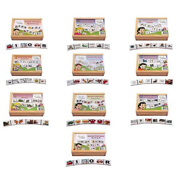 Conjunto de dominos – Alfabetizaçao – Caixa c/ 10 jogos