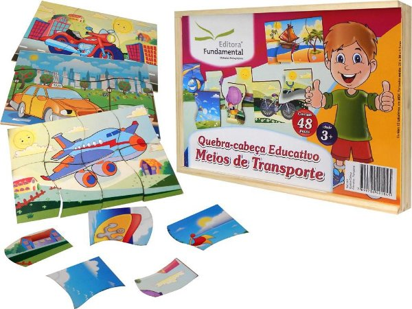 Quebra Cabeça Educativo Meios De Transporte– Cx. c/10 unid.