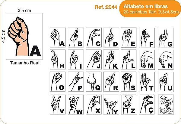 Carimbos Alfabeto em Libras - 28 un. 3,5x4,5 cm