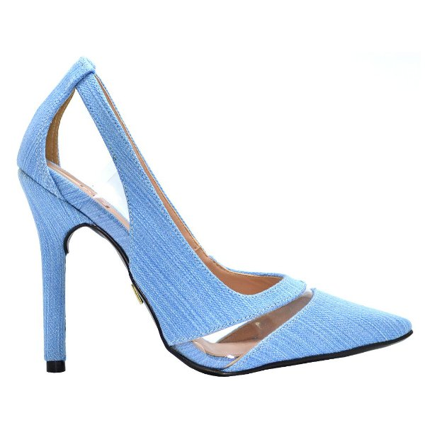 "Scarpin ""Fran"" em Jeans Azul by DRSKA"