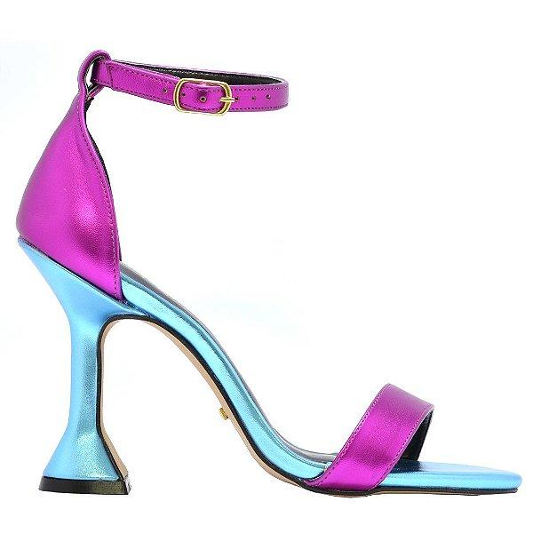 "Sandália Zyhen ""Gisele"" Azul/Pink Salto Taça"