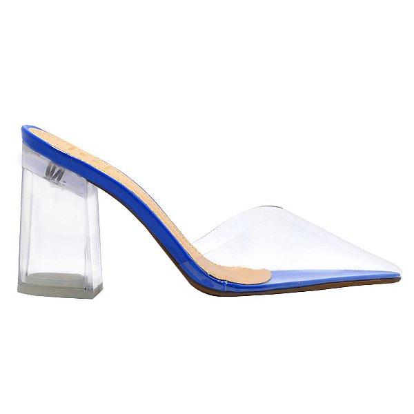 Mule Verniz Azul/Transparente Salto Acrílico