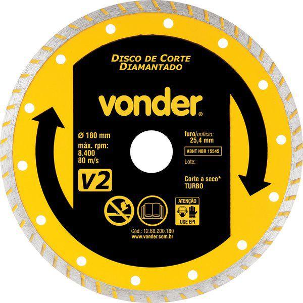 Disco De Corte Diamantado 180 Mm Turbo V2 Vonder