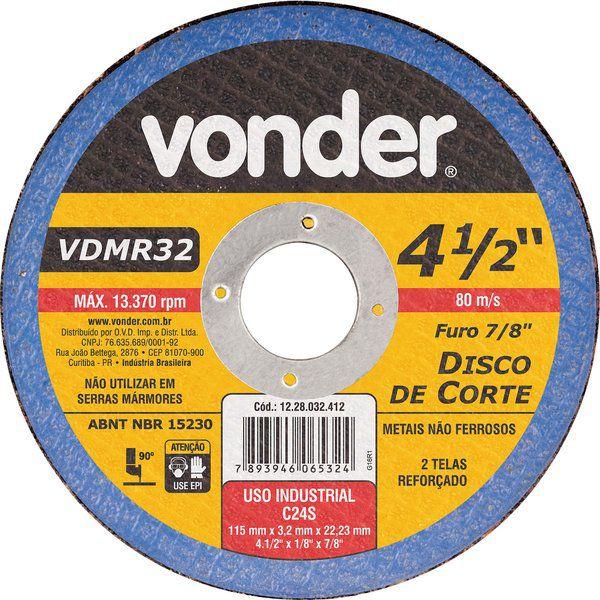 Disco De Corte 115mm X 3,2mm X 22,23mm Vdmr32 Vonder