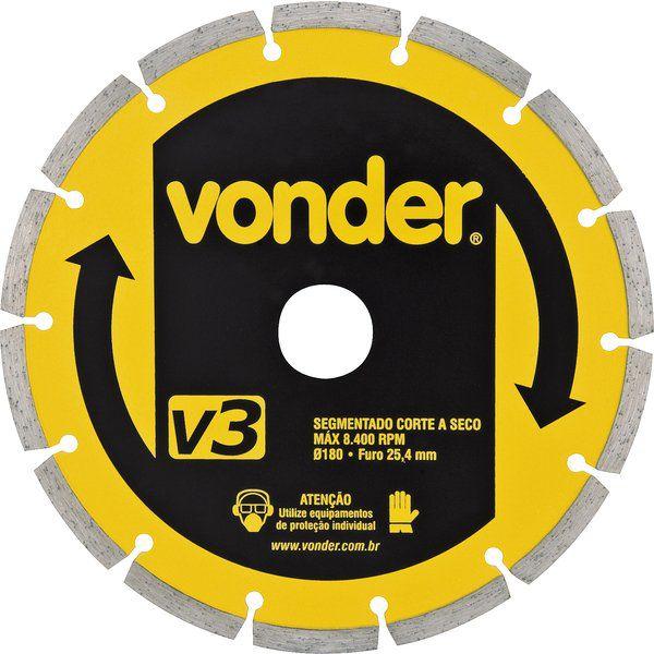 Disco De Corte Diamantado 180 Mm Segmentado V3 Vonder