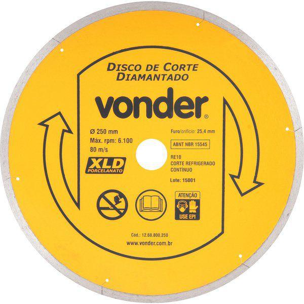 Disco De Corte Diamantado 250 Mm P/ Porcelanato - Vonder