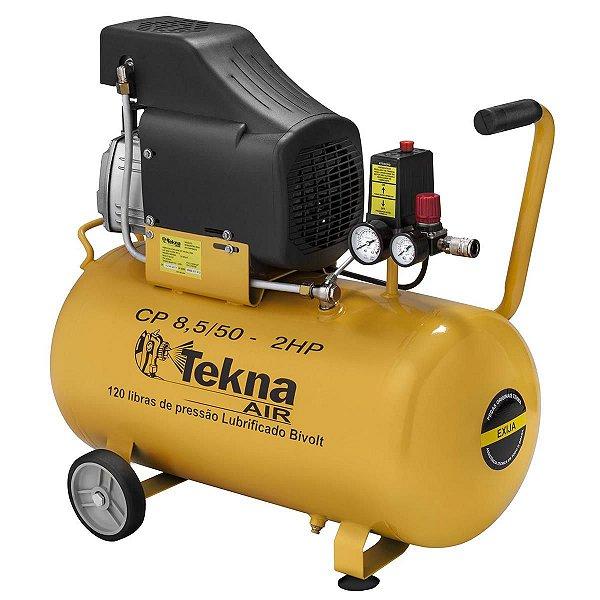 Motocompressor De Ar De Pistão 8.5/50 Bivolt 2 Hp 120 Psi 50 Tekna