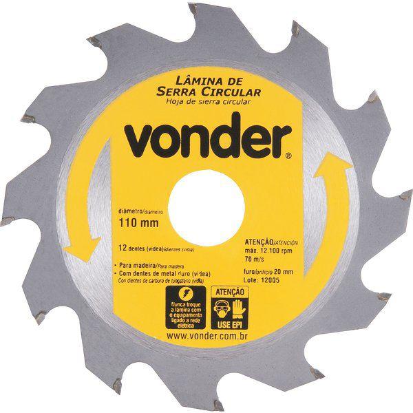 Lâmina De Serra Circular 110mm X 20mm 12 Dentes Vonder