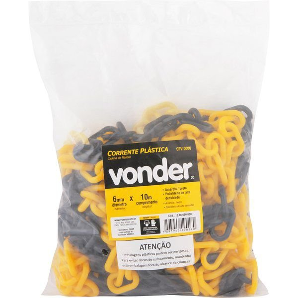 Corrente Plástica 6mm Amarela E Preta Vonder