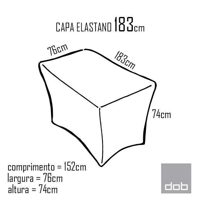 Capa para mesa dobrável Elastano Branca G - 183x76x74cm