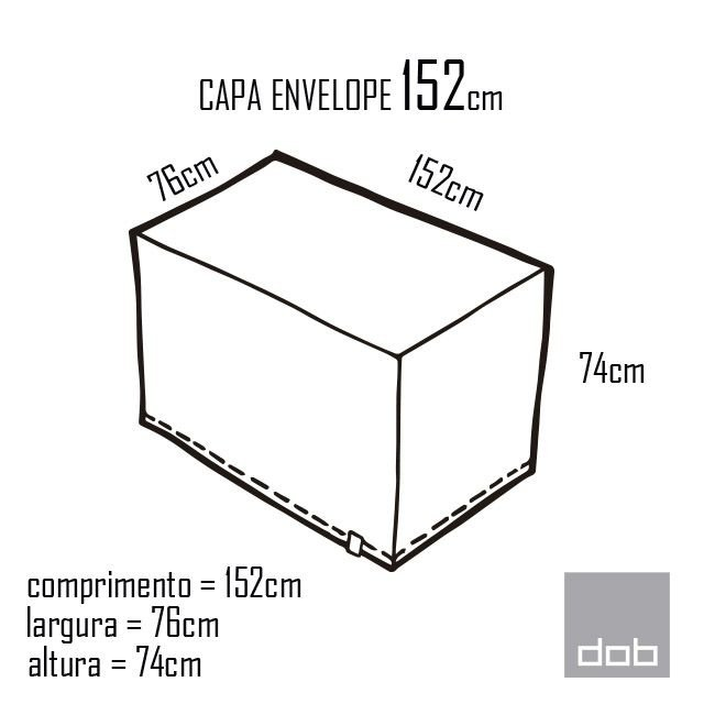 Capa para mesa dobrável Envelope Branca M - 152x76x74cm